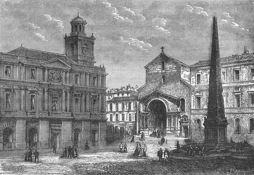 Associate Product BOUCHES-DU-RHÔNE. Arles. Place de l'Hotel-de-Ville 1880 old antique print