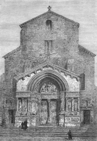 Associate Product BOUCHES-DU-RHÔNE. Arles. Portail de l'eglise Saint-Trophime 1880 old print