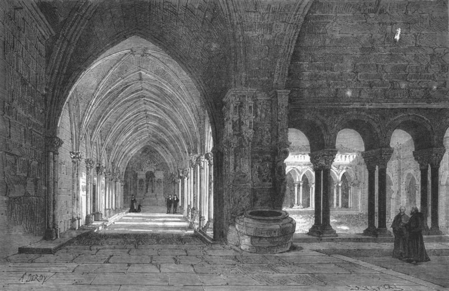 Associate Product BOUCHES-DU-RHÔNE. Arles. cloitre de St-Trophime 1880 old antique print picture
