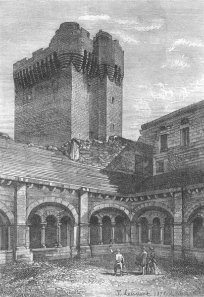 Associate Product BOUCHES-DU-RHÔNE. Arles. Cour interieure de l'abbaye Montmajour 1880 old print
