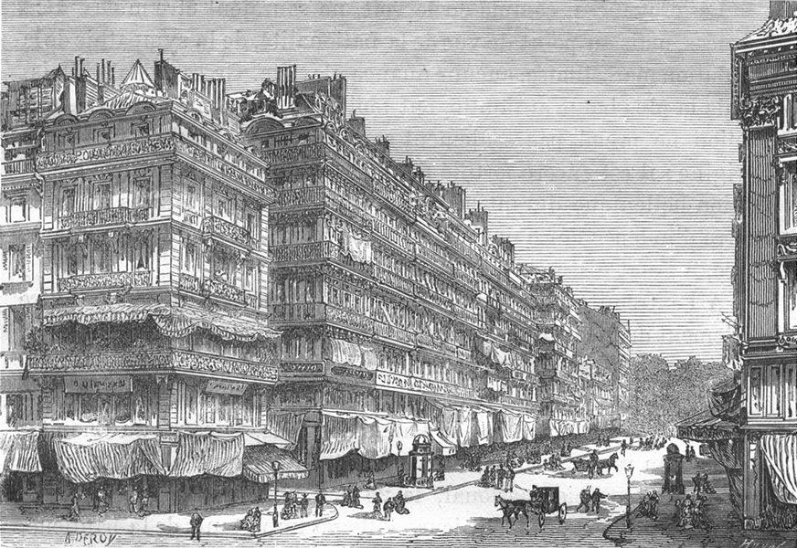 Associate Product BOUCHES-DU-RHÔNE. Marseille. La rue de Noailles 1880 old antique print picture