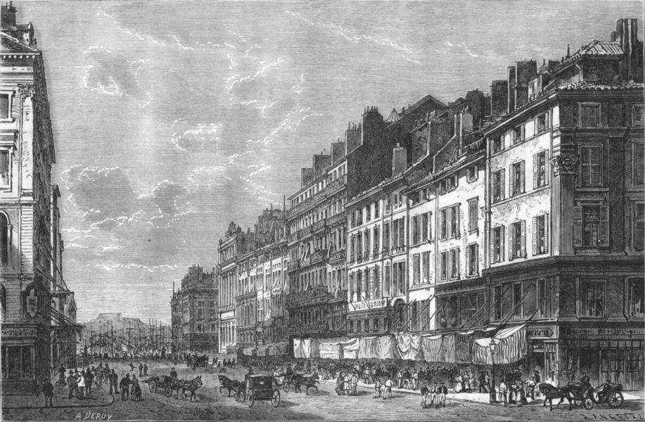 Associate Product BOUCHES-DU-RHÔNE. Marseille. La Cannebiere 1880 old antique print picture
