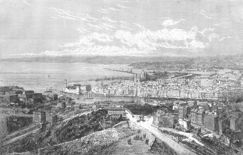 Associate Product BOUCHES-DU-RHÔNE. Marseille. Vue generale de Marseille 1880 old antique print