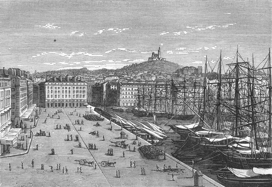 Associate Product BOUCHES-DU-RHÔNE. Marseille. Le port Vieux 1880 old antique print picture