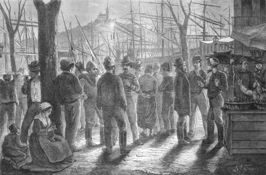 Associate Product BOUCHES-DU-RHÔNE. Marseille. Embauchage matelots sur place Neuve 1880 print