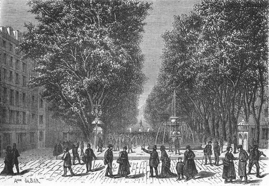 Associate Product BOUCHES-DU-RHÔNE. Marseille. Le Cours Belsunce 1880 old antique print picture