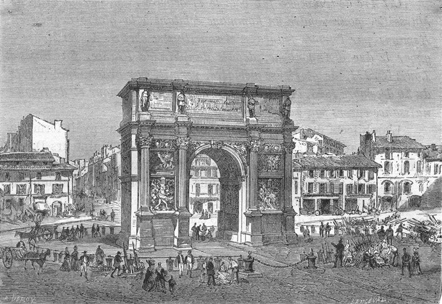Associate Product BOUCHES-DU-RHÔNE. Marseille. La Porte d'Aix 1880 old antique print picture