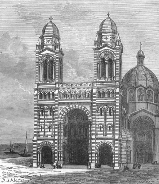 Associate Product BOUCHES-DU-RHÔNE. Marseille. La Nouvelle Cathedrale 1880 old antique print