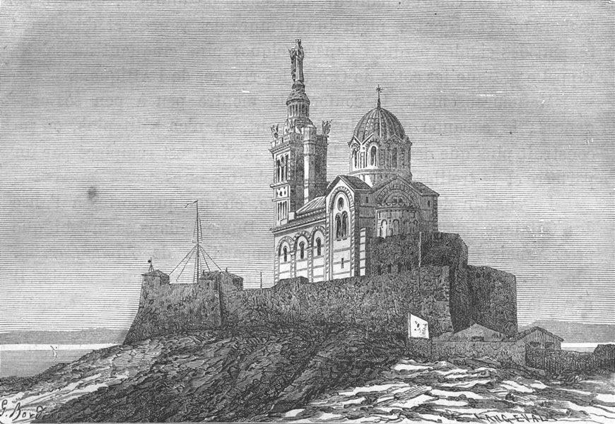 Associate Product BOUCHES-DU-RHÔNE. Marseille. Abside de Notre-Dame de La Garde 1880 old print