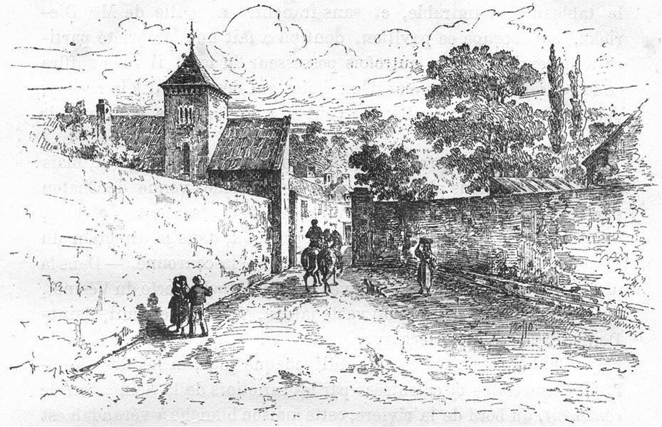 Associate Product YVELINES. Entrée du village de Louveciennes porte l'ancien pare 1880 old print