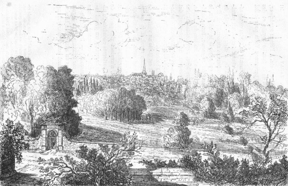 Associate Product YVELINES. De Marly-Roi l'ancien parc, prise route Versailles 1880 old print