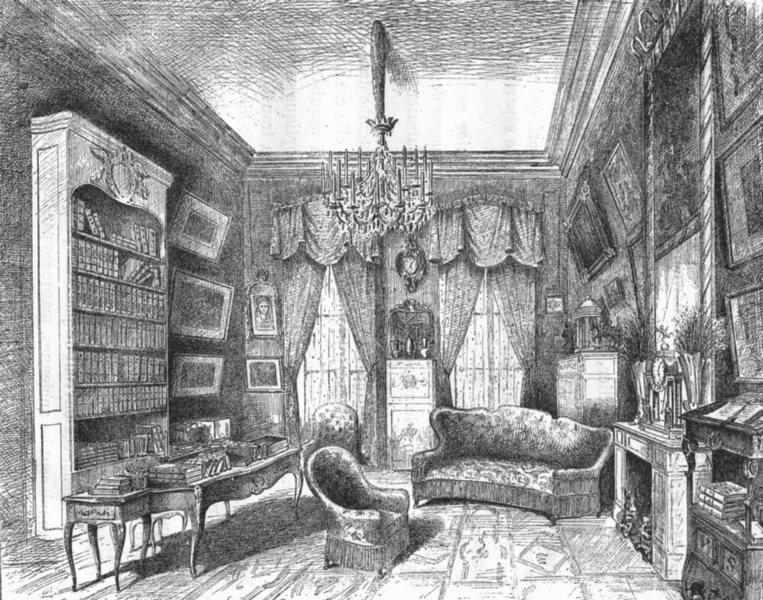 Associate Product YVELINES. Cabinet de travail M Victorien Sardou 1880 old antique print picture