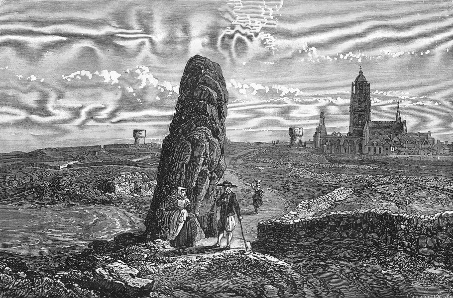 LOIRE-ATLANTIQUE. Bretagne. Vue generale du Bourg-de-Batz 1880 old print