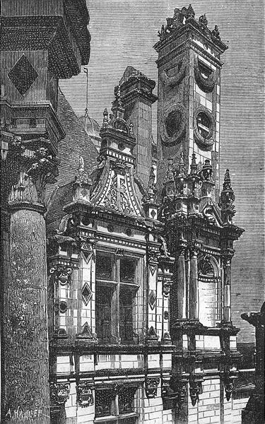 Associate Product LOIR-CHER. Chambord. Chateau de-Lucarne cheminee 1880 old antique print