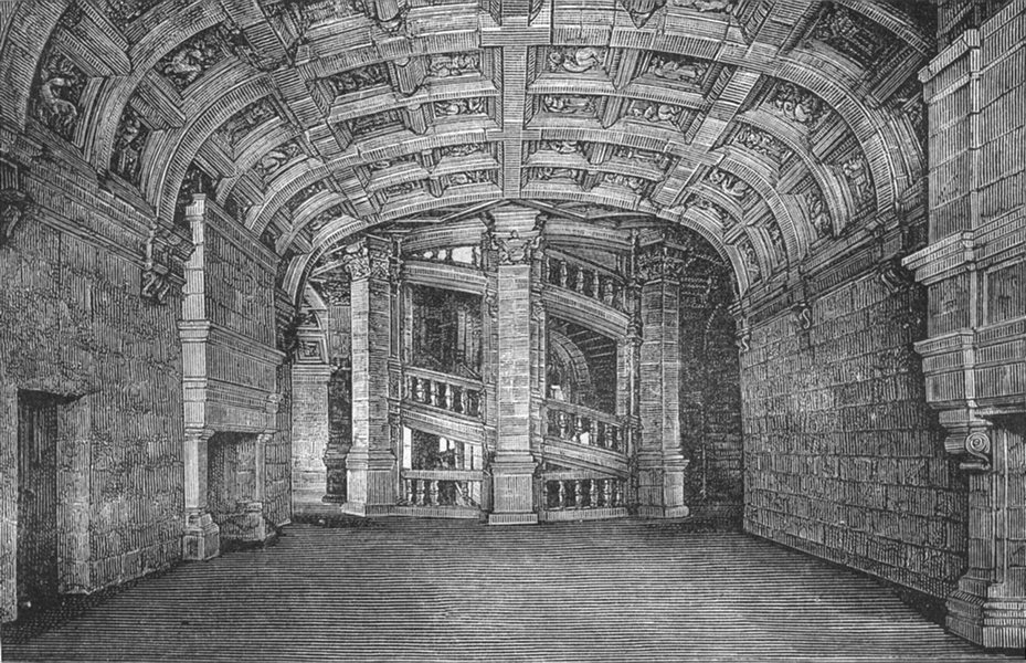 Associate Product LOIR-CHER. Chambord. salle gardes double escalier 1880 old antique print