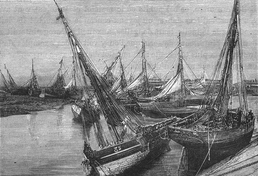 Associate Product MANCHE. Cherbourg. Barques de peche echouees l'avant-port 1880 old print