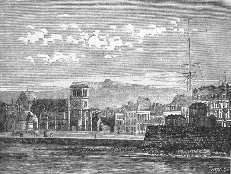 MANCHE. Cherbourg. Place et eglise de la Trinite 1880 old antique print