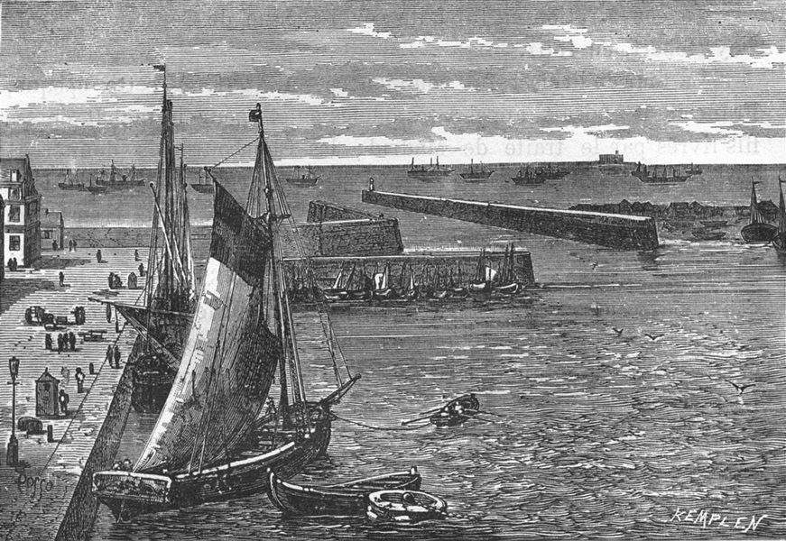 Associate Product MANCHE. Cherbourg. L'avant-port et les jetees 1880 old antique print picture