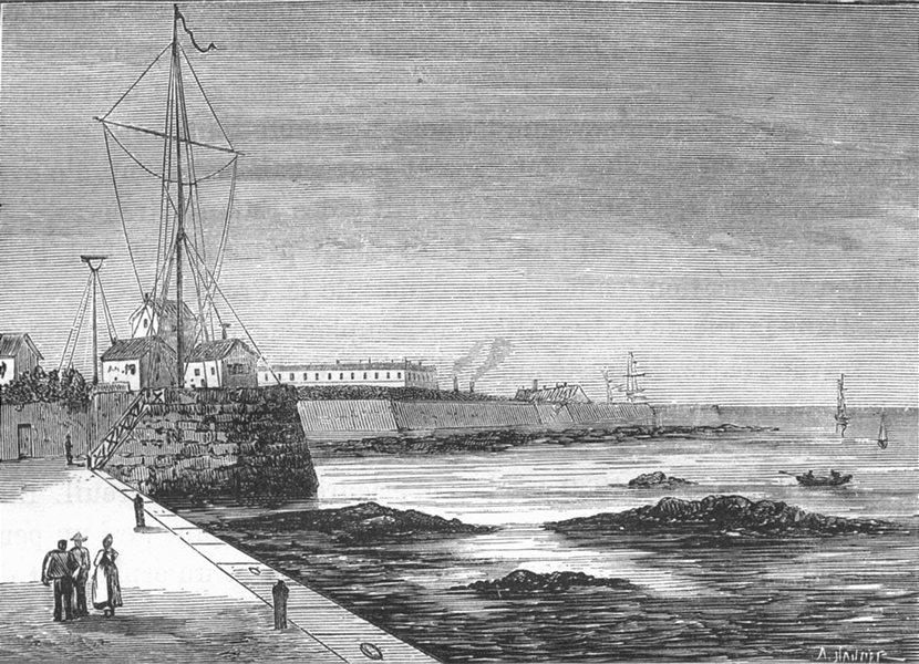 Associate Product MANCHE. Cherbourg. La telegraphie maritime 1880 old antique print picture
