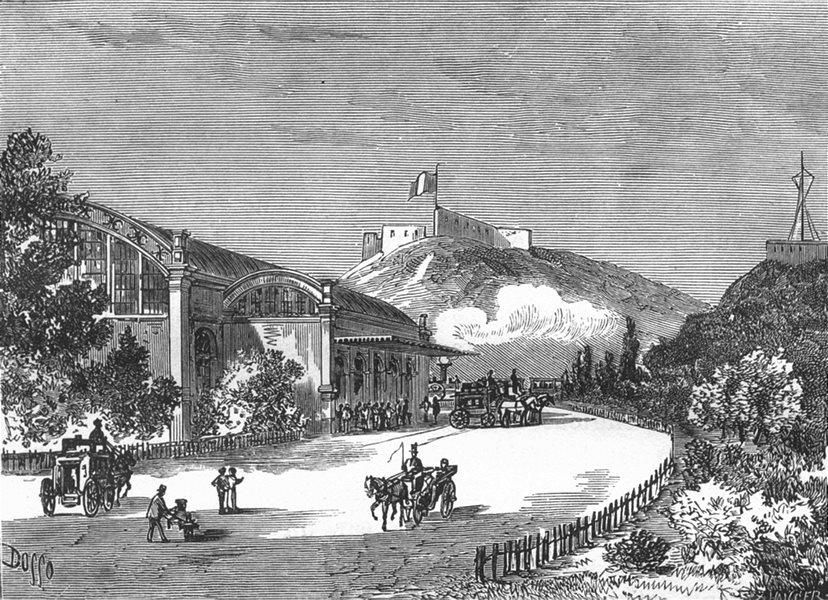 Associate Product MANCHE. Cherbourg. La gare du chemin ae ter a Cherbourg 1880 old antique print