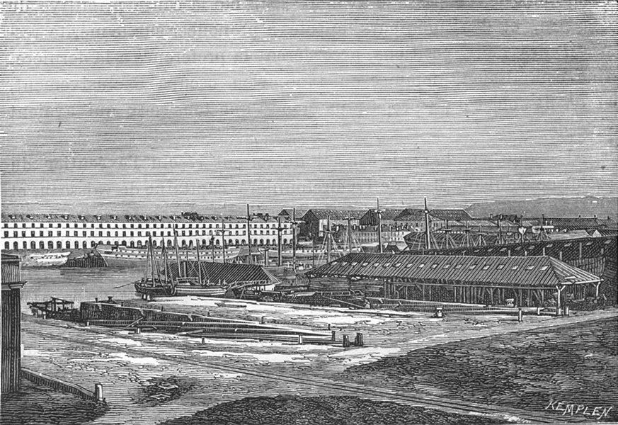 Associate Product MANCHE. Cherbourg. Cales couvertes du bassin Napoleon III 1880 old print