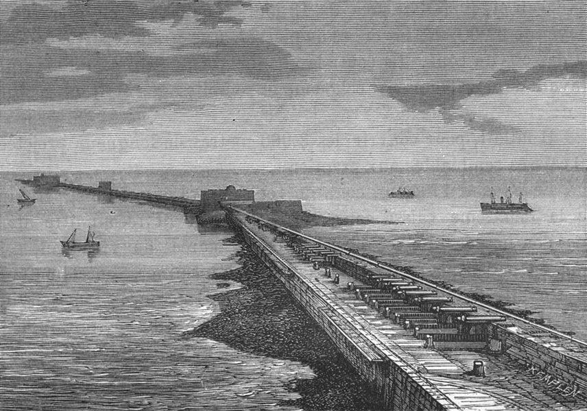 Associate Product MANCHE. Cherbourg. La digue de Cherbourg 1880 old antique print picture
