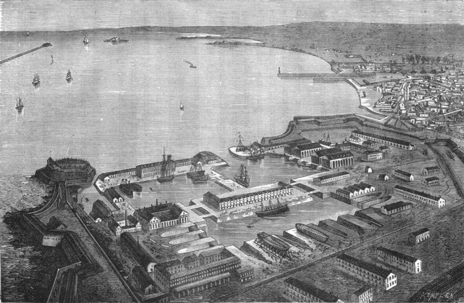 Associate Product MANCHE. Cherbourg. a vol d'oiseau du port militaire de rade 1880 old print