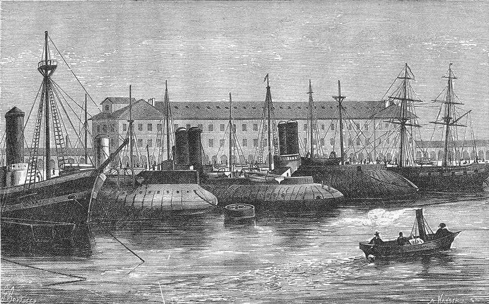 Associate Product MANCHE. Cherbourg. Port Militaire de-Bassin Charles 1880 old antique print