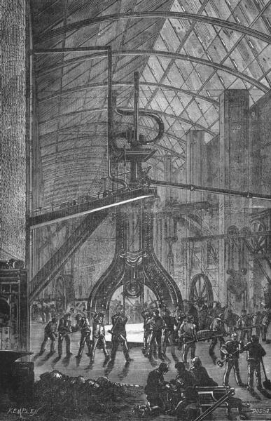 Associate Product MANCHE. Cherbourg. Forges de L'arsenal Marteau-pilon du poids 30k kg 1880