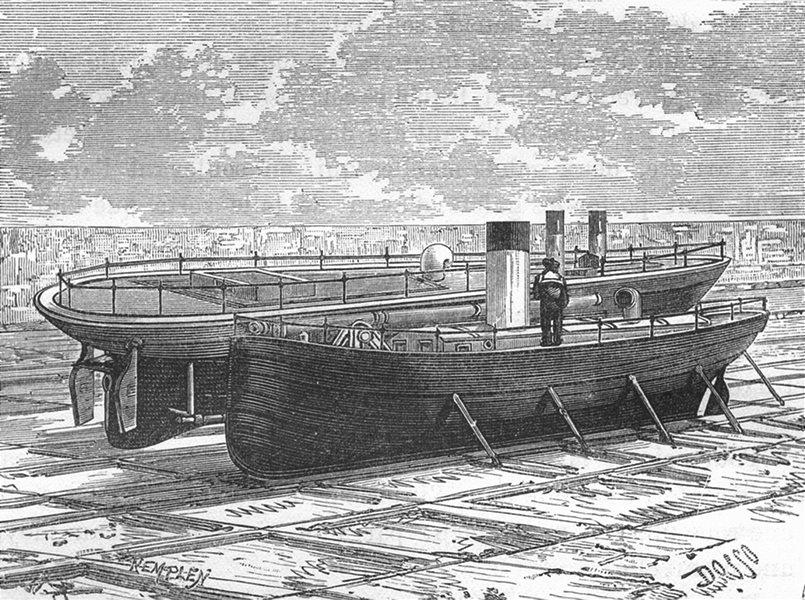 Associate Product MANCHE. Cherbourg. Port Militaire de-Bateaux-torpilleurs 1880 old print