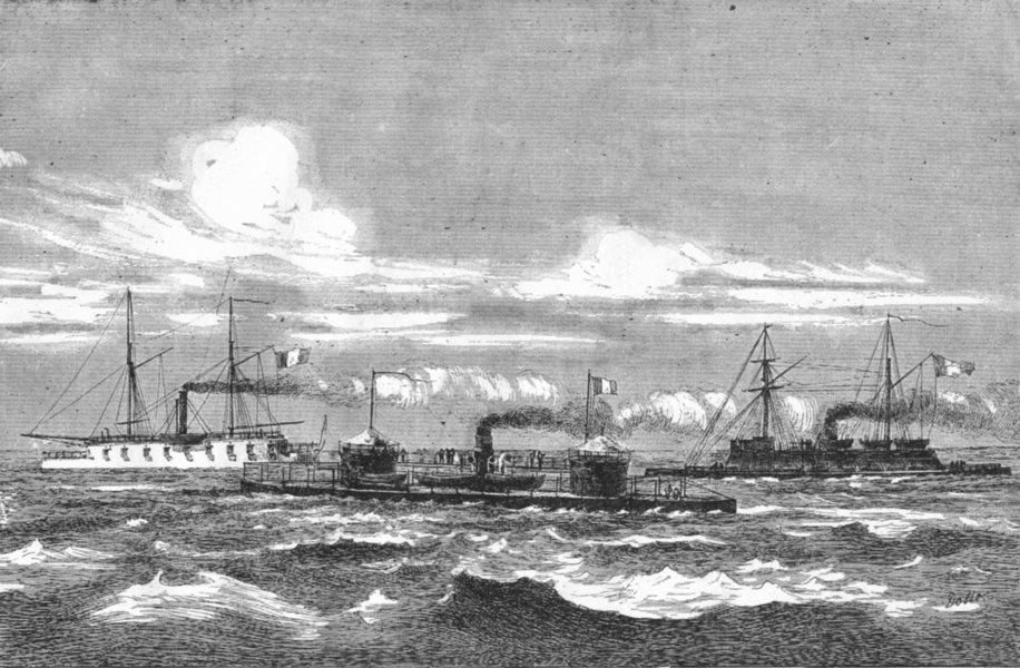 MANCHE. Cherbourg. Monitors et Gardes-cotes 1880 old antique print picture