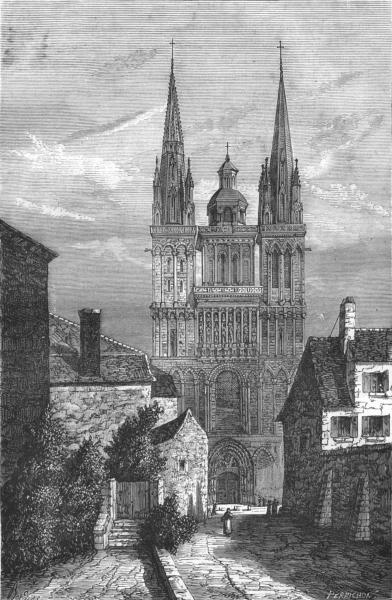 Associate Product MAINE-ET-LOIRE. Angers. Le cathedrale d'Angers 1880 old antique print picture