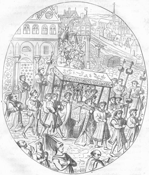 Associate Product MAINE-LOIRE. Angers. Corporation Joailliers aux processions du Sacre 1880
