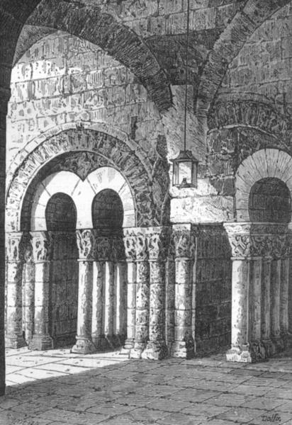 Associate Product MAINE-LOIRE. Angers. Porte romane de I'abbaye St-Aubin 1880 old antique print