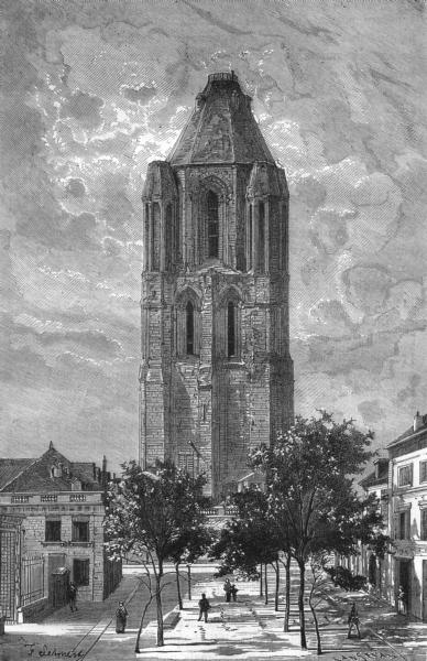Associate Product MAINE-ET-LOIRE. Angers. La tour Saint-Aubin 1880 old antique print picture