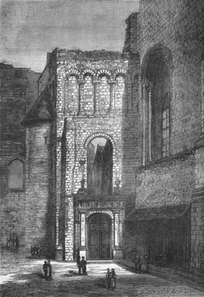 Associate Product MAINE-LOIRE. Angers. Ruins l'abbaye Ronceray portail l'eglise Trinite 1880