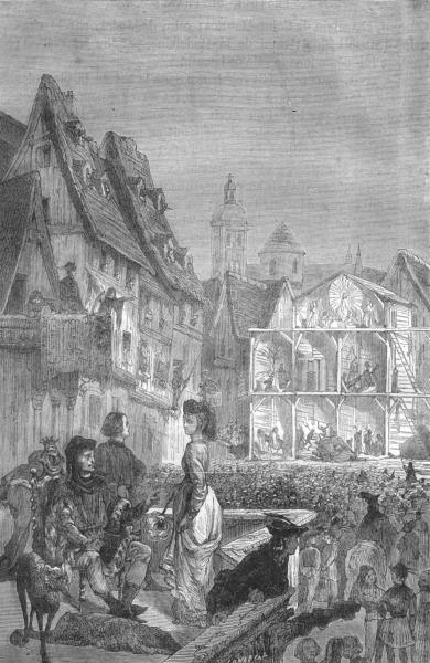 Associate Product MAINE-LOIRE. Angers. Anciens Mysteres sur place Halles-Gerardin 1880 old print