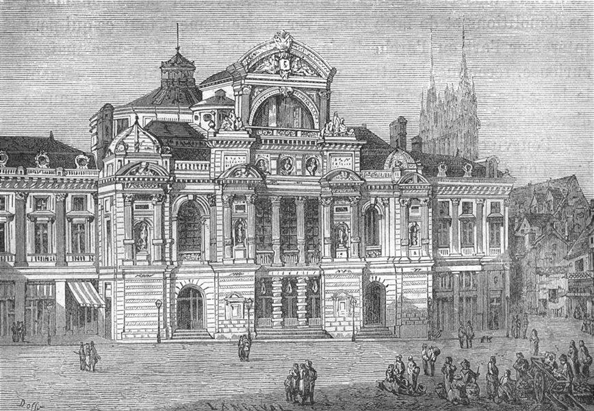 Associate Product MAINE-ET-LOIRE. Angers. Le theatre d'Angers 1880 old antique print picture