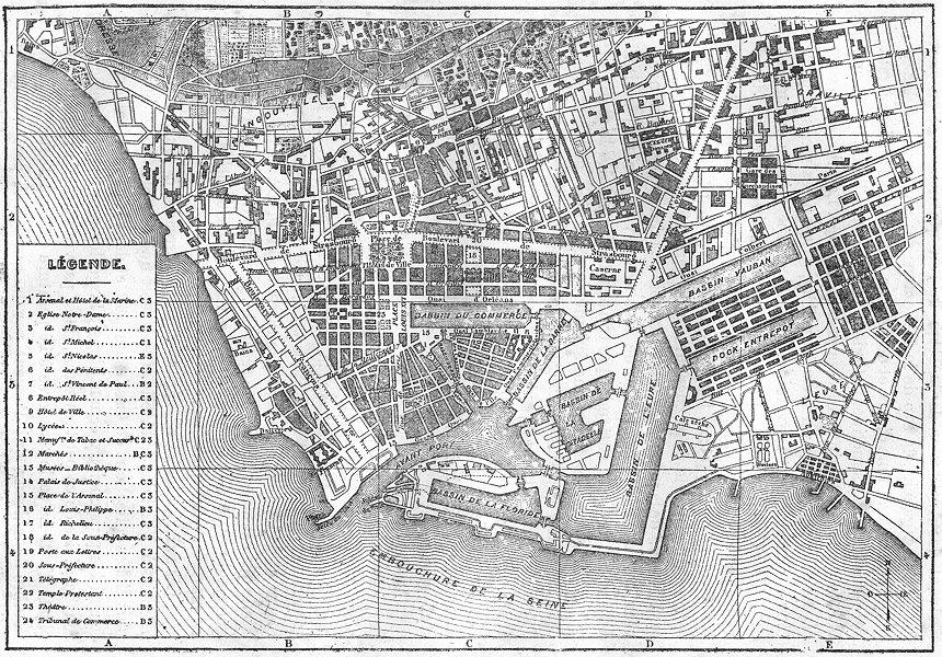 Associate Product SEINE-MARITIME. Le Havre. Plan de la ville du Havre 1880 old antique map chart