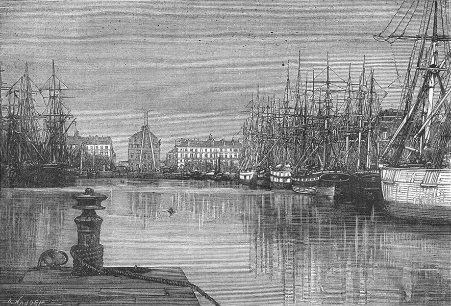 Associate Product SEINE-MARITIME. Le Havre. Bassin du Commerce 1880 old antique print picture