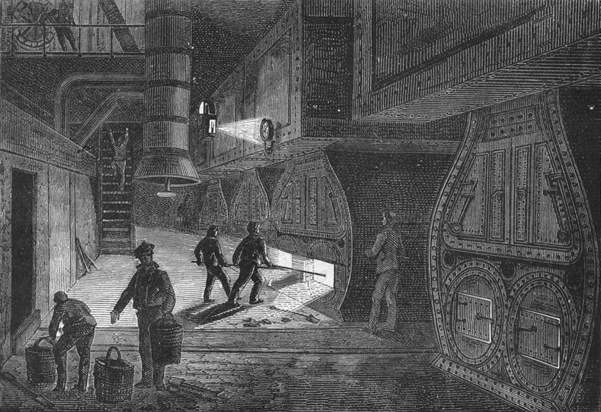 Associate Product SEINE-MARITIME. Le Havre. chaufferies de machine a bord du Canada 1880 print