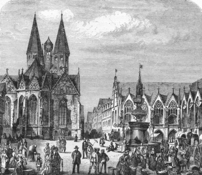 Associate Product GERMANY. Brunswick. The old market c1893 antique vintage print picture