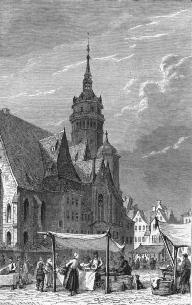 Associate Product GERMANY. Leipzig. St Nicholas Church c1893 old antique vintage print picture