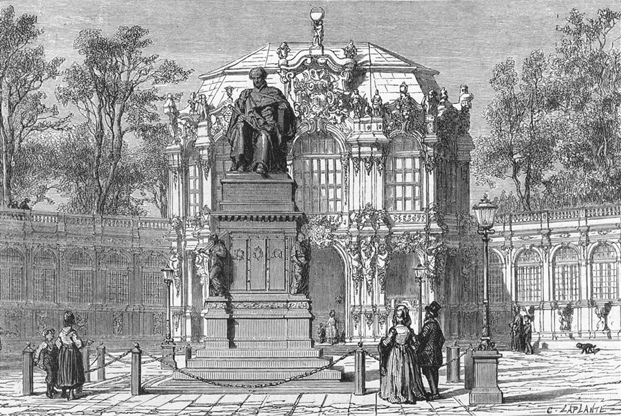 GERMANY. Dresden. Entry to Zwinger & statue of Frederick Augustus c1893 print