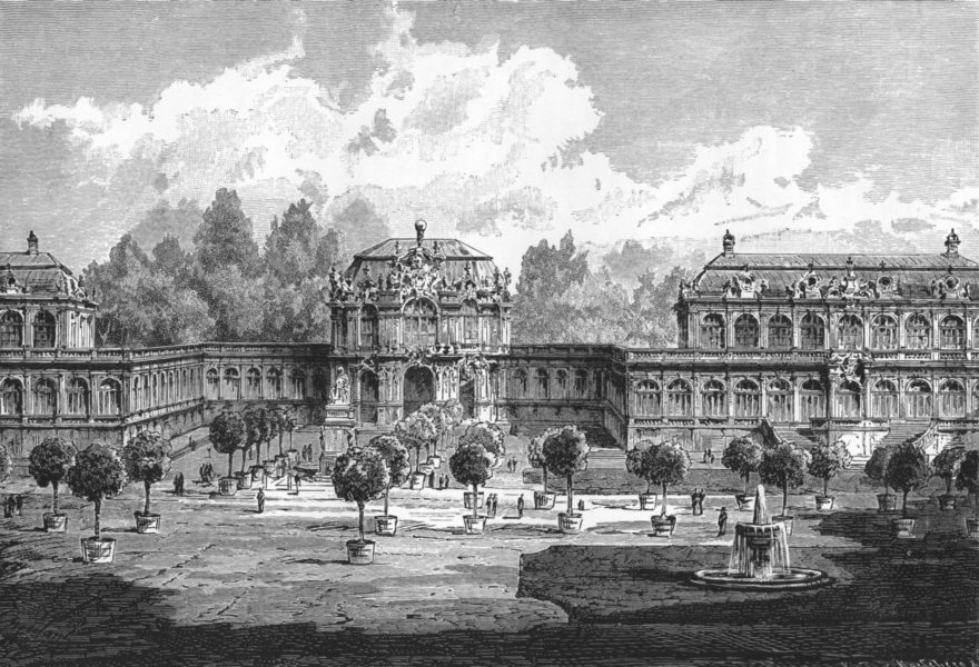 Associate Product GERMANY. Dresden. The Zwinger; Interior View c1893 old antique print picture