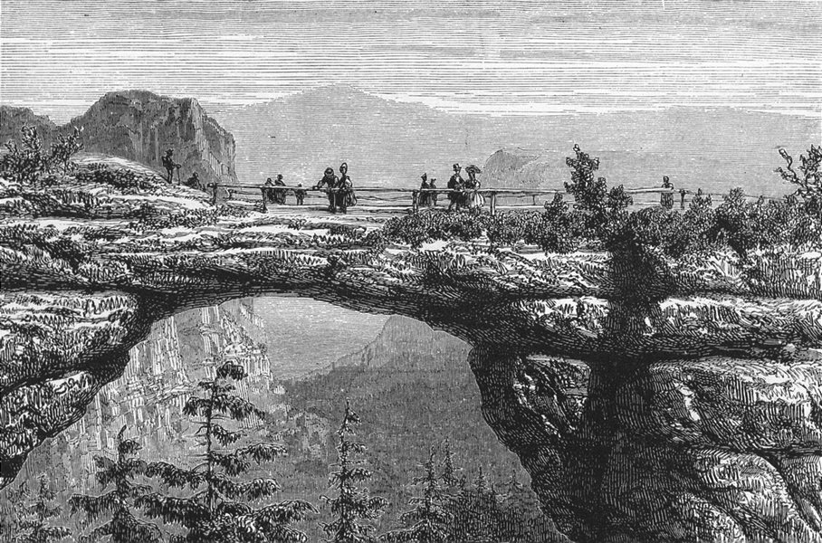 Associate Product SWITZERLAND. Saxon. prebischthor, a colossal natural arch c1893 old print