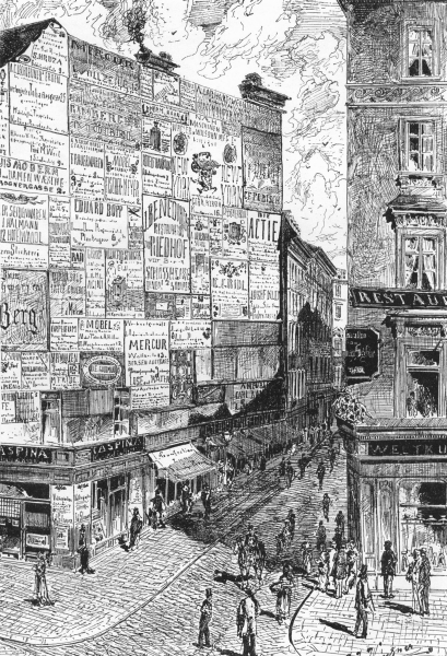 Associate Product AUSTRIA. Street in Vienna. Wall Announcements c1893 old antique print picture