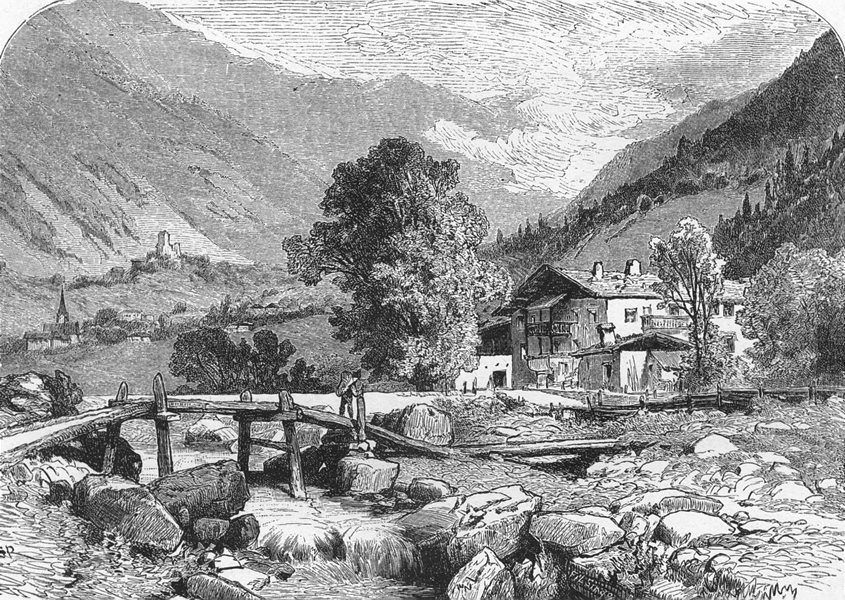 Associate Product AUSTRIA. Tyrol & Eastern Alps. Andrew Hofer's House, Passerthal c1893 print