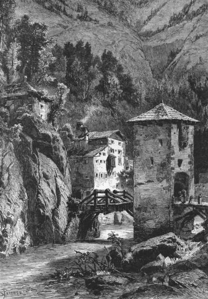 AUSTRIA. Tyrol & Eastern Alps. Finstermunz pass c1893 old antique print