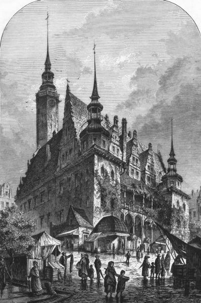 Associate Product SWITZERLAND. Rathhaus. Brieg, in Silesia c1893 old antique print picture